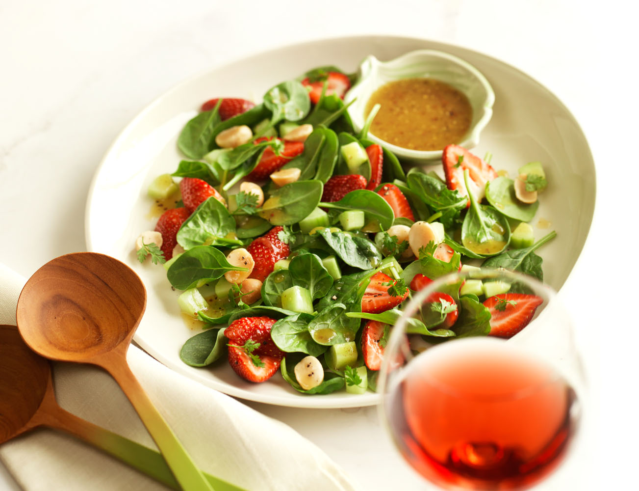 fresh baby greens and strawberry salad